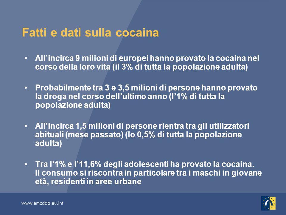 Allincirca 9 milioni di europei hanno provato la cocaina nel corso della loro vita (il 3% di tutta la popolazione adulta) Probabilmente tra 3 e 3,5 milioni di persone hanno provato la droga nel corso dellultimo anno (l1% di tutta la popolazione adulta) Allincirca 1,5 milioni di persone rientra tra gli utilizzatori abituali (mese passato) (lo 0,5% di tutta la popolazione adulta) Tra l1% e l11,6% degli adolescenti ha provato la cocaina.