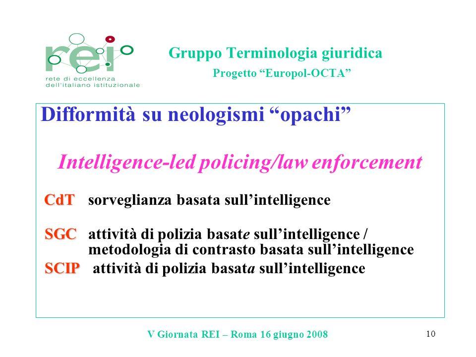 V Giornata REI – Roma 16 giugno 2008 10 Gruppo Terminologia giuridica Progetto Europol-OCTA Difformità su neologismi opachi Intelligence-led policing/