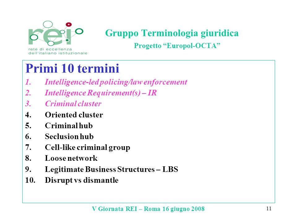 V Giornata REI – Roma 16 giugno 2008 11 Gruppo Terminologia giuridica Progetto Europol-OCTA Primi 10 termini 1.Intelligence-led policing/law enforceme