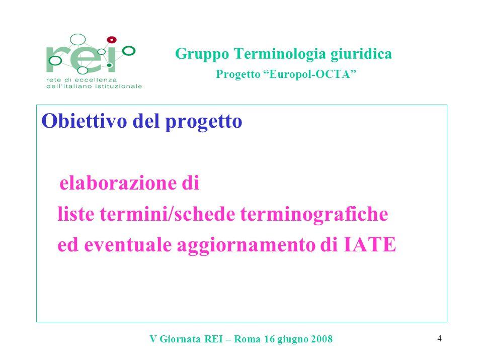 V Giornata REI – Roma 16 giugno 2008 4 Gruppo Terminologia giuridica Progetto Europol-OCTA Obiettivo del progetto elaborazione di liste termini/schede