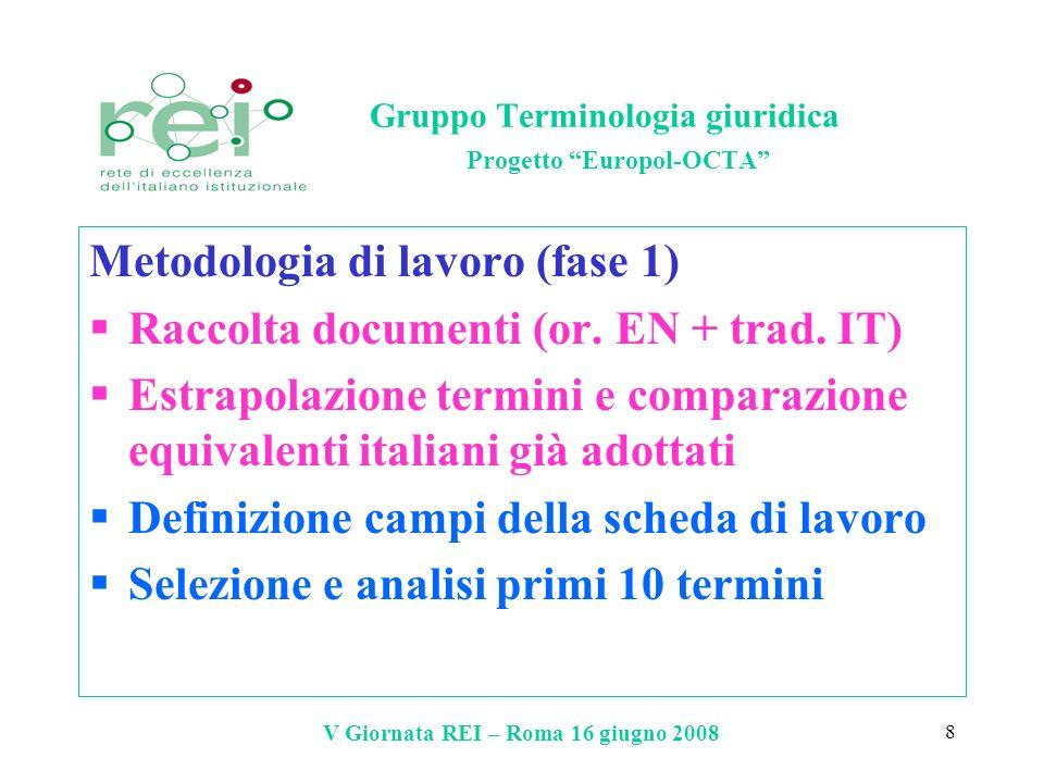 V Giornata REI – Roma 16 giugno 2008 8 Gruppo Terminologia giuridica Progetto Europol-OCTA Metodologia di lavoro (fase 1) Raccolta documenti (or. EN +
