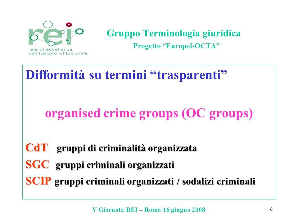 V Giornata REI – Roma 16 giugno 2008 9 Gruppo Terminologia giuridica Progetto Europol-OCTA Difformità su termini trasparenti organised crime groups (O