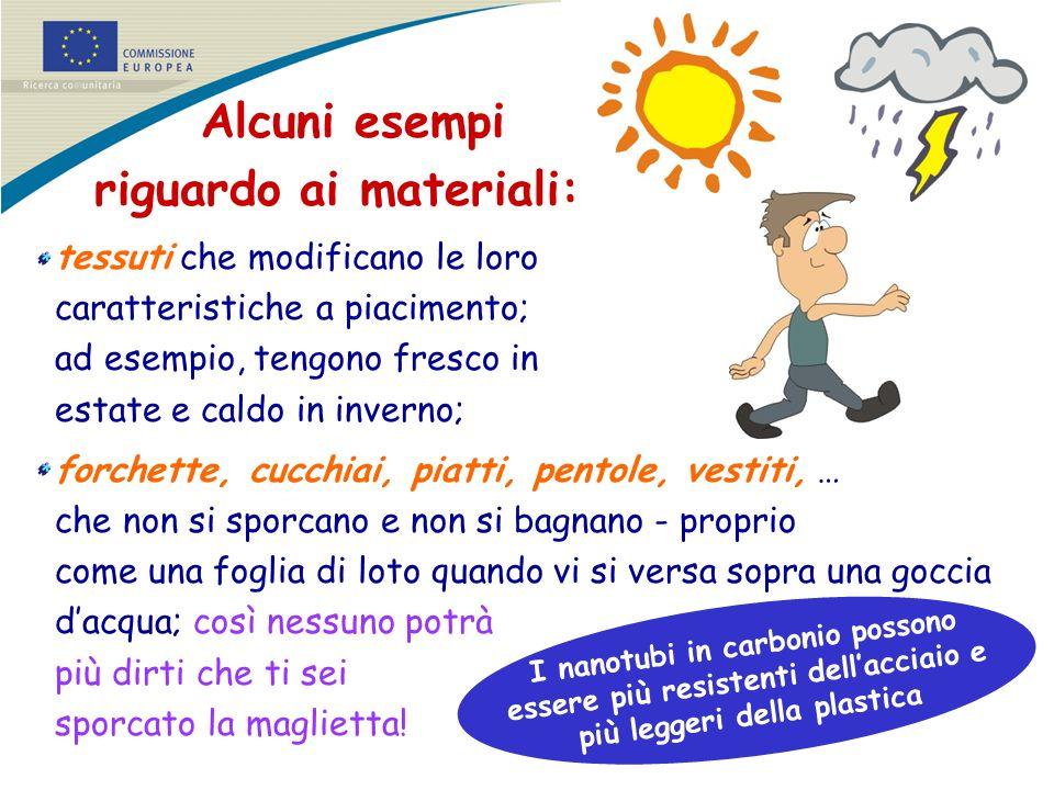 Alcuni esempi riguardo ai materiali: tessuti che modificano le loro caratteristiche a piacimento; ad esempio, tengono fresco in estate e caldo in inve
