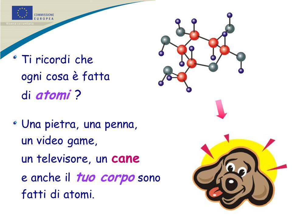 Ti ricordi che ogni cosa è fatta di atomi ? Una pietra, una penna, un video game, un televisore, un cane e anche il tuo corpo sono fatti di atomi.