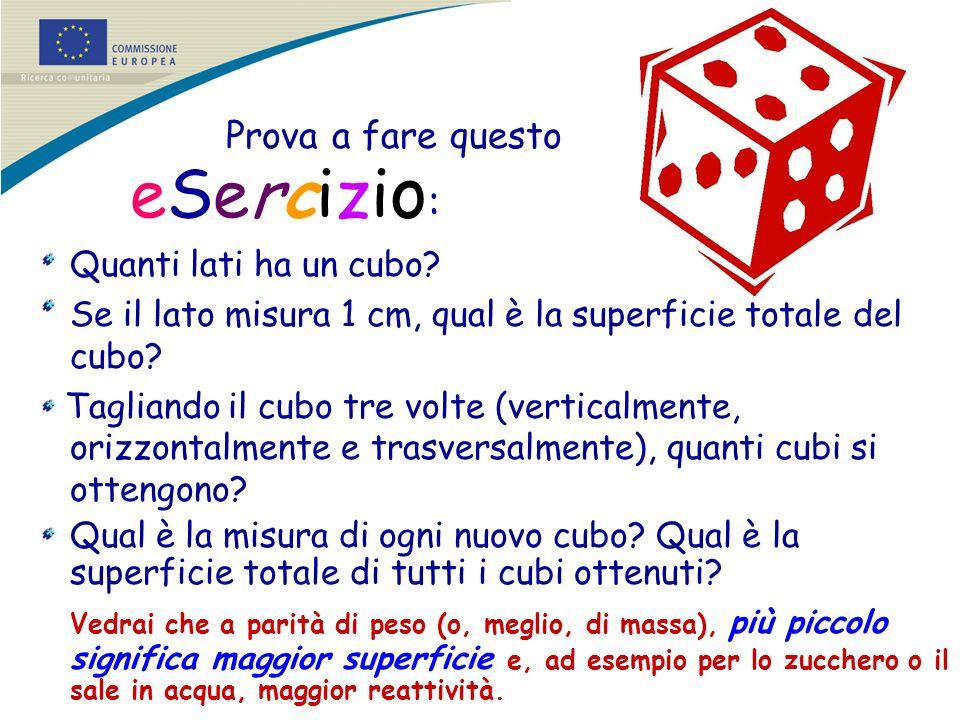 Prova a fare questo eSercizi o : Quanti lati ha un cubo? Se il lato misura 1 cm, qual è la superficie totale del cubo? Tagliando il cubo tre volte (ve