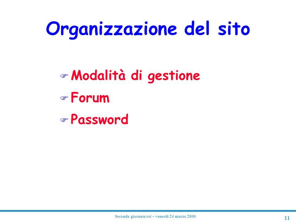 11 Seconda giornata rei – venerdì 24 marzo 2006 Organizzazione del sito F Modalità di gestione F Forum F Password