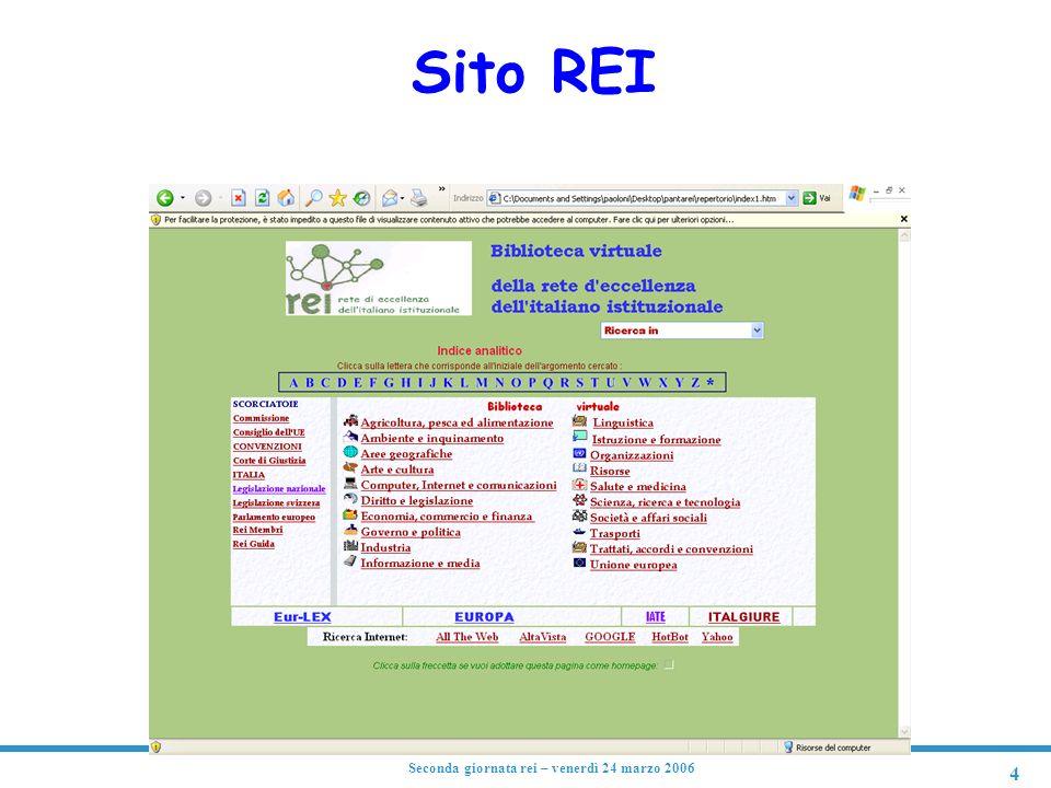 4 Seconda giornata rei – venerdì 24 marzo 2006 Sito REI