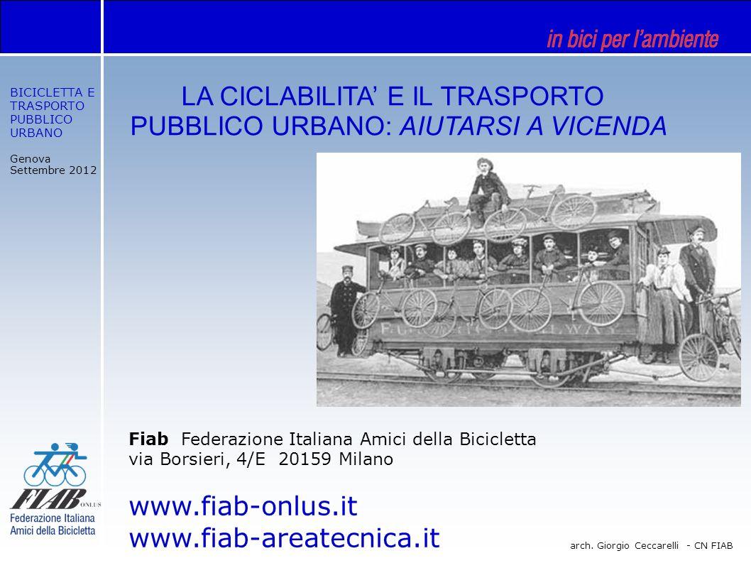 BICICLETTA E TRASPORTO PUBBLICO URBANO Genova Settembre 2012 arch. Giorgio Ceccarelli - CN FIAB Fiab Federazione Italiana Amici della Bicicletta via B