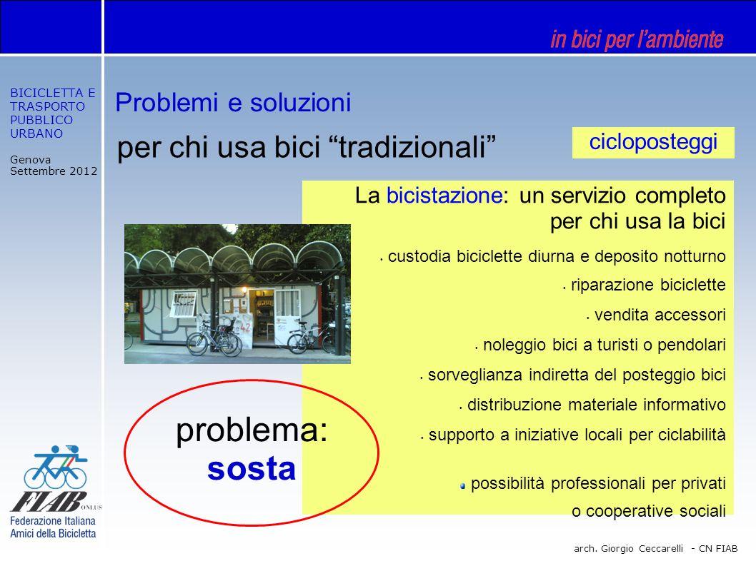 BICICLETTA E TRASPORTO PUBBLICO URBANO Genova Settembre 2012 arch. Giorgio Ceccarelli - CN FIAB per chi usa bici tradizionali La bicistazione: un serv