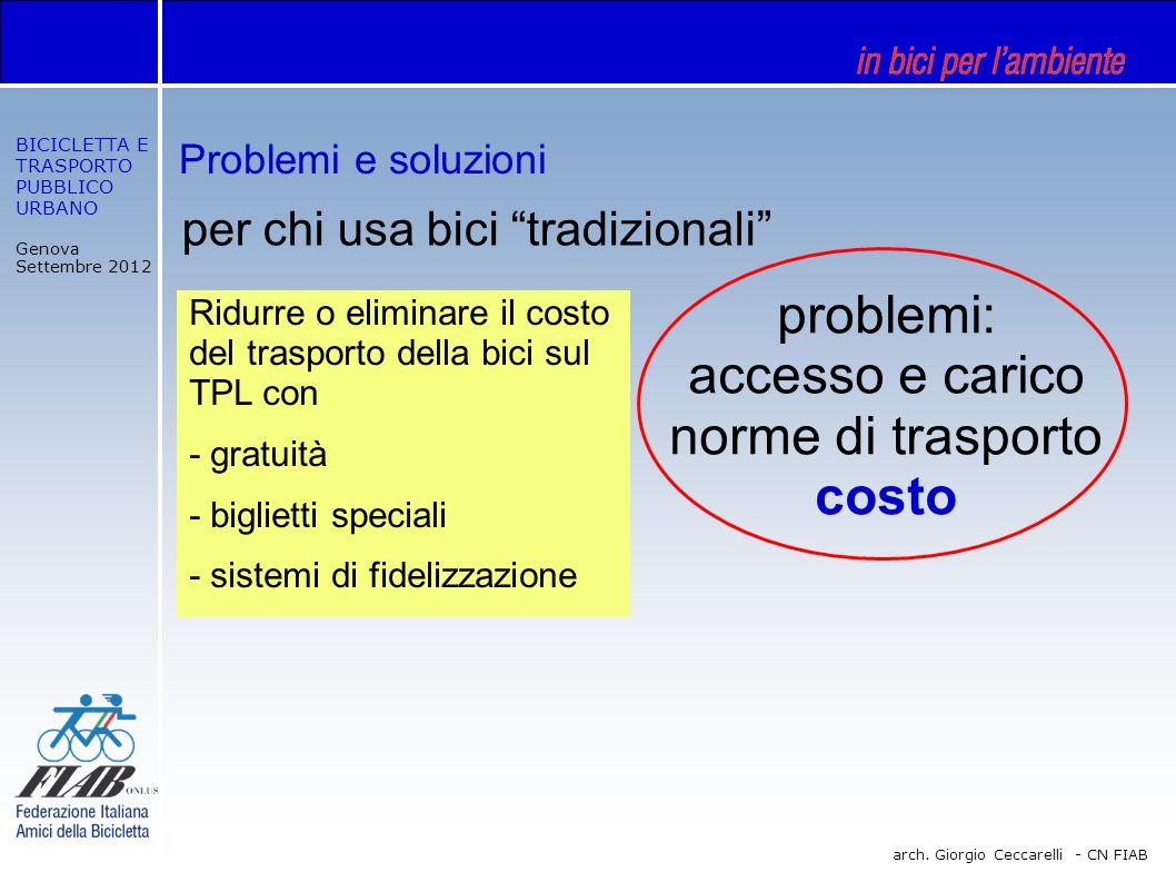 BICICLETTA E TRASPORTO PUBBLICO URBANO Genova Settembre 2012 arch. Giorgio Ceccarelli - CN FIAB per chi usa bici tradizionali problemi: accesso e cari