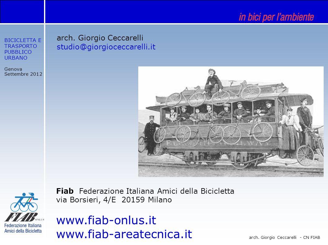 BICICLETTA E TRASPORTO PUBBLICO URBANO Genova Settembre 2012 arch. Giorgio Ceccarelli - CN FIAB arch. Giorgio Ceccarelli studio@giorgioceccarelli.it F