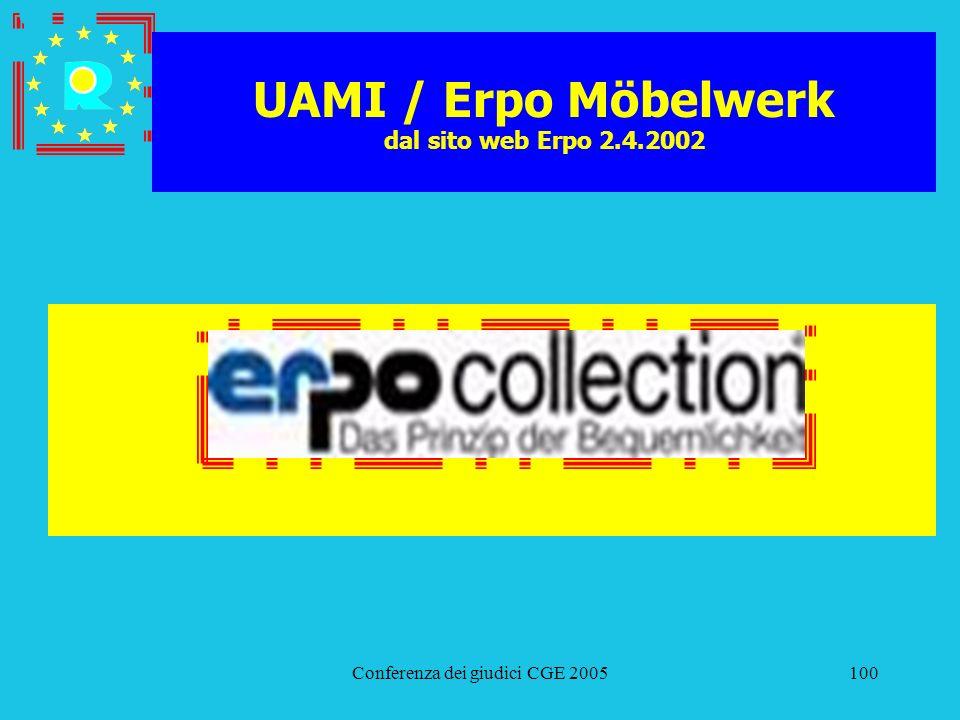 Conferenza dei giudici CGE 2005100 UAMI / Erpo Möbelwerk dal sito web Erpo 2.4.2002