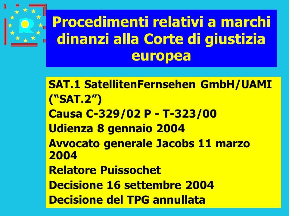 Conferenza dei giudici CGE 2005101 Procedimenti relativi a marchi dinanzi alla Corte di giustizia europea SAT.1 SatellitenFernsehen GmbH/UAMI (SAT.2)