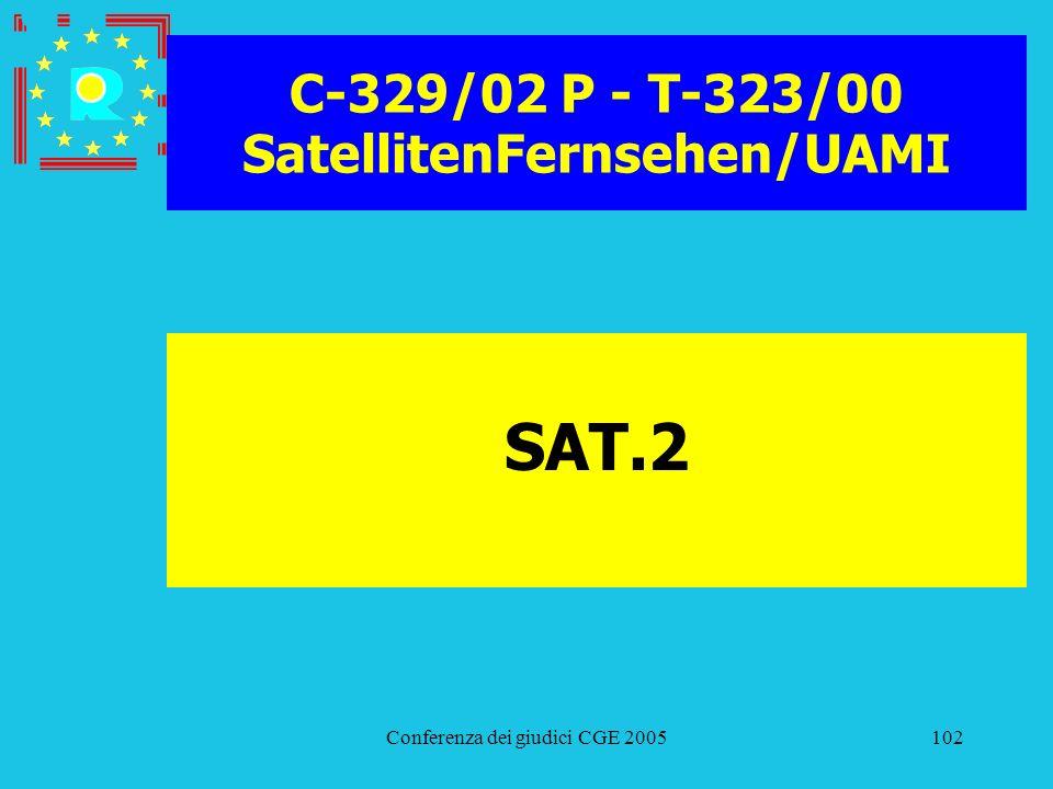 Conferenza dei giudici CGE 2005102 C-329/02 P - T-323/00 SatellitenFernsehen/UAMI SAT.2