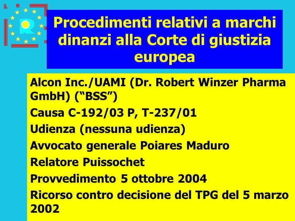 Conferenza dei giudici CGE 2005103 Procedimenti relativi a marchi dinanzi alla Corte di giustizia europea Alcon Inc./UAMI (Dr. Robert Winzer Pharma Gm