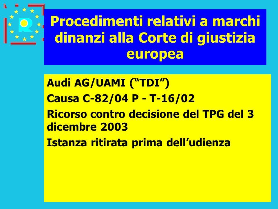 Conferenza dei giudici CGE 2005104 Procedimenti relativi a marchi dinanzi alla Corte di giustizia europea Audi AG/UAMI (TDI) Causa C-82/04 P - T-16/02