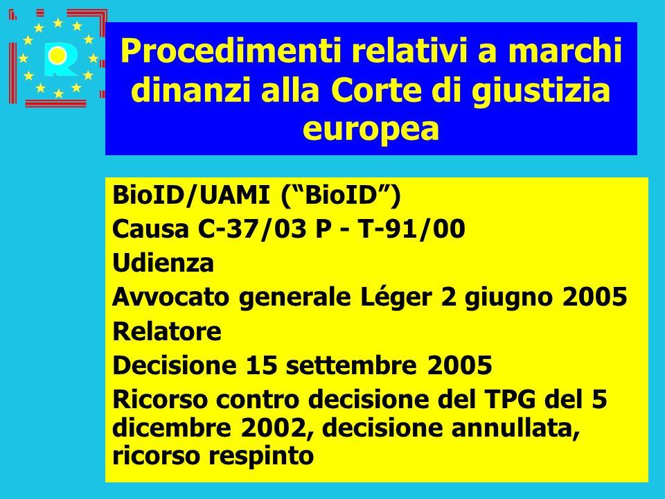 Conferenza dei giudici CGE 2005106 Procedimenti relativi a marchi dinanzi alla Corte di giustizia europea BioID/UAMI (BioID) Causa C-37/03 P - T-91/00