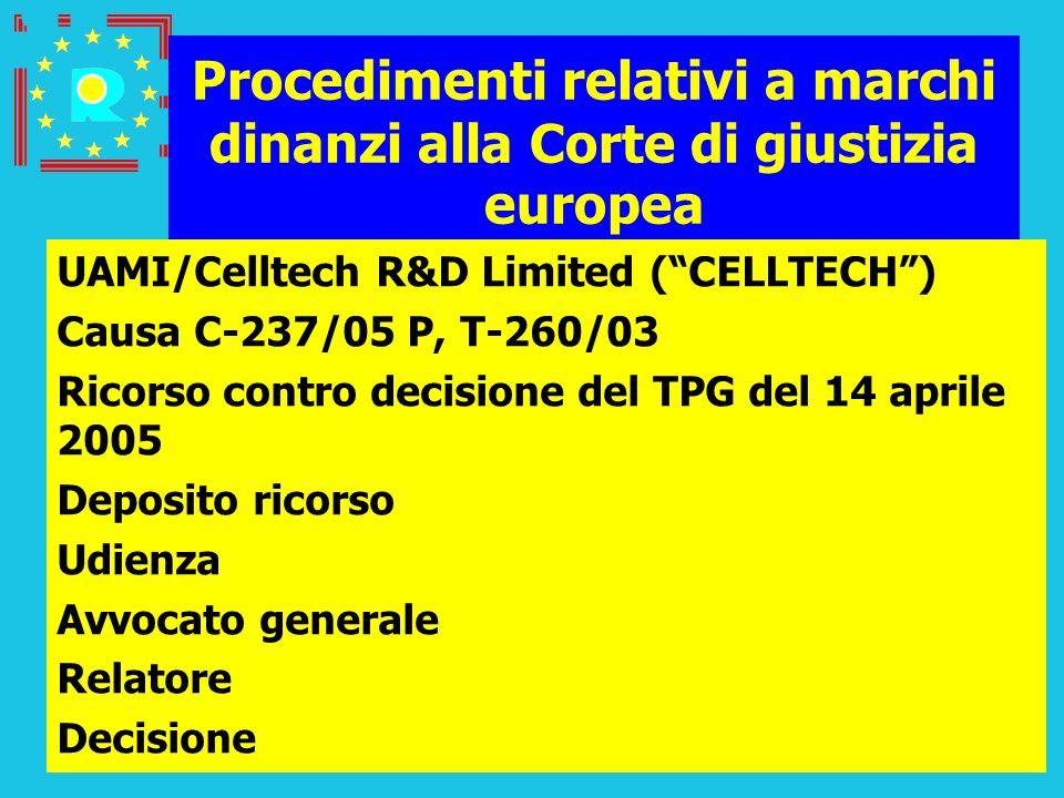 Conferenza dei giudici CGE 2005109 Procedimenti relativi a marchi dinanzi alla Corte di giustizia europea UAMI/Celltech R&D Limited (CELLTECH) Causa C