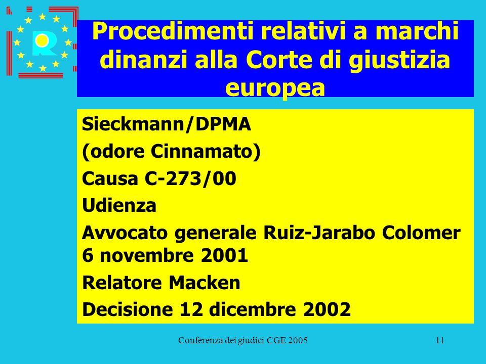 Conferenza dei giudici CGE 200511 Procedimenti relativi a marchi dinanzi alla Corte di giustizia europea Sieckmann/DPMA (odore Cinnamato) Causa C-273/