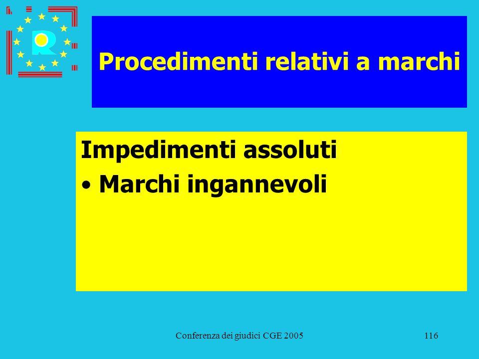 Conferenza dei giudici CGE 2005116 Procedimenti relativi a marchi Impedimenti assoluti Marchi ingannevoli