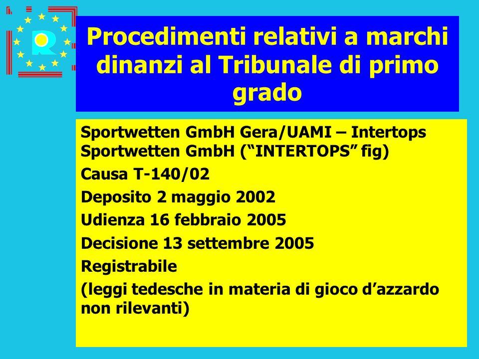 Conferenza dei giudici CGE 2005119 Procedimenti relativi a marchi dinanzi al Tribunale di primo grado Sportwetten GmbH Gera/UAMI – Intertops Sportwett