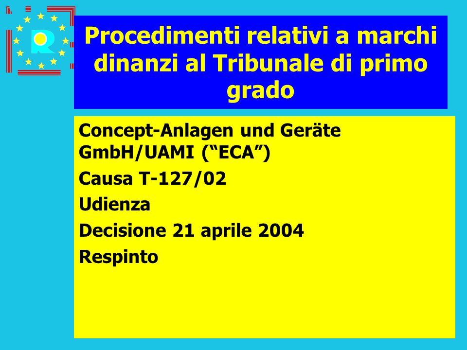 Conferenza dei giudici CGE 2005122 Procedimenti relativi a marchi dinanzi al Tribunale di primo grado Concept-Anlagen und Geräte GmbH/UAMI (ECA) Causa