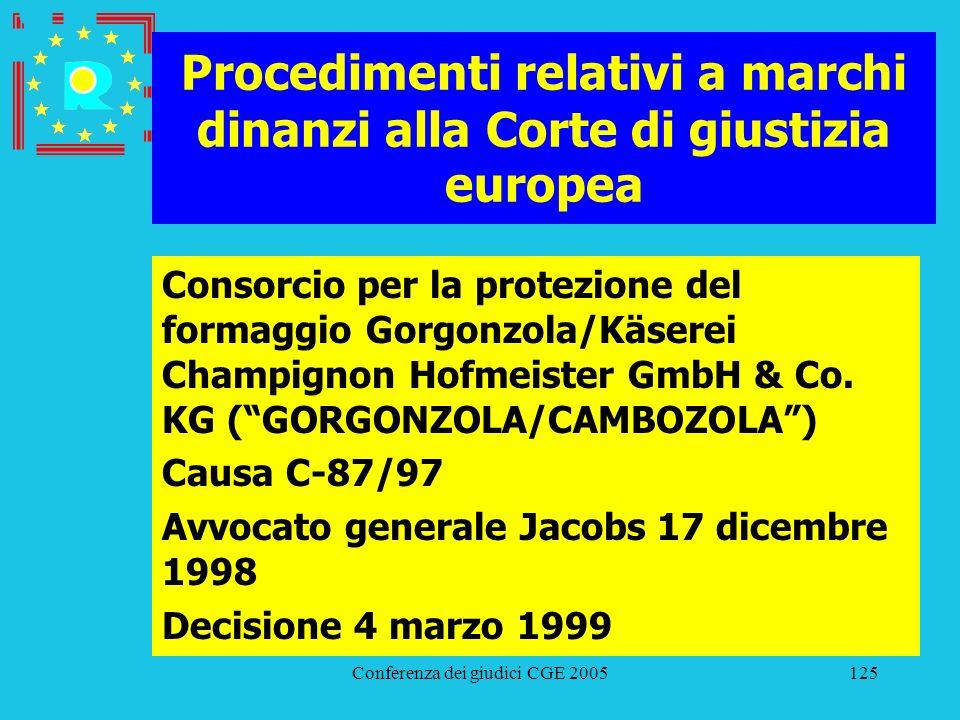 Conferenza dei giudici CGE 2005125 Procedimenti relativi a marchi dinanzi alla Corte di giustizia europea Consorcio per la protezione del formaggio Go