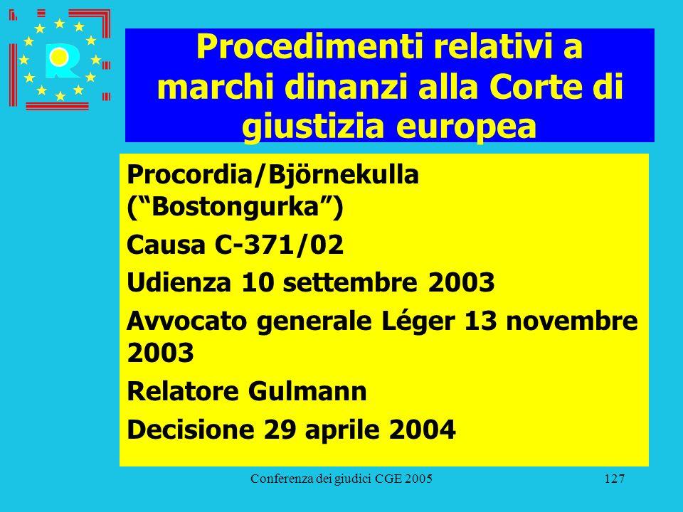 Conferenza dei giudici CGE 2005127 Procedimenti relativi a marchi dinanzi alla Corte di giustizia europea Procordia/Björnekulla (Bostongurka) Causa C-