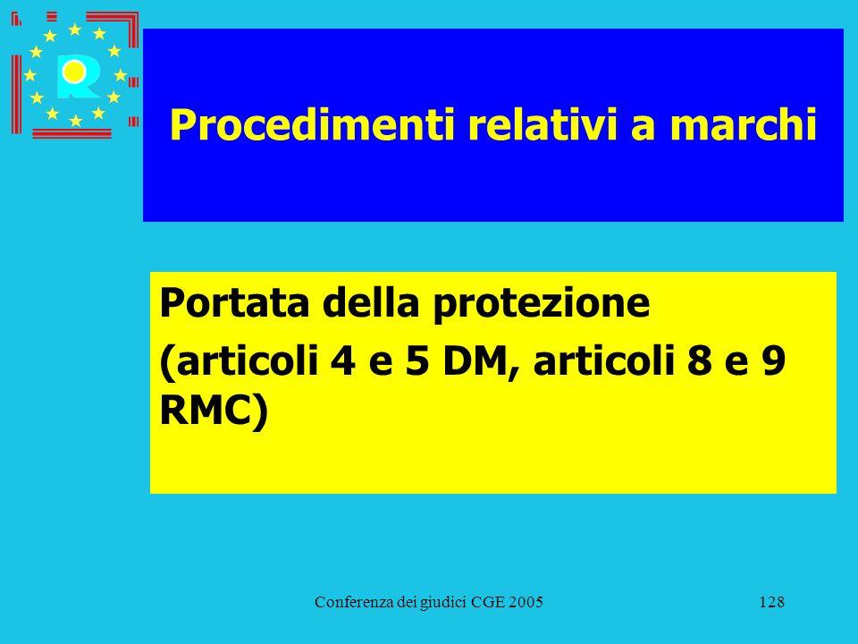 Conferenza dei giudici CGE 2005128 Procedimenti relativi a marchi Portata della protezione (articoli 4 e 5 DM, articoli 8 e 9 RMC)
