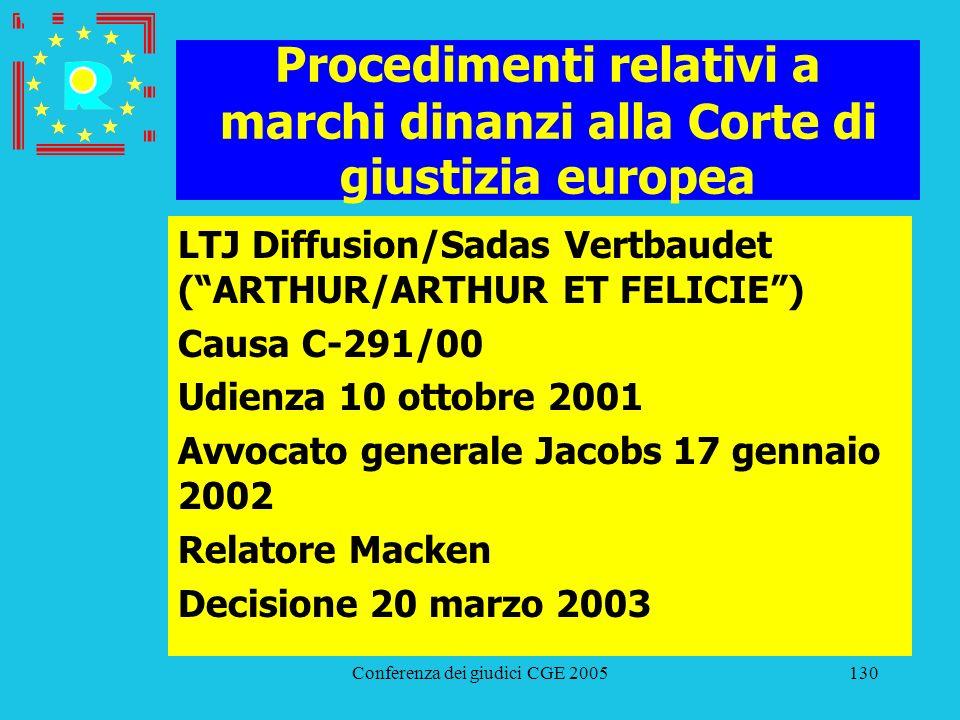 Conferenza dei giudici CGE 2005130 Procedimenti relativi a marchi dinanzi alla Corte di giustizia europea LTJ Diffusion/Sadas Vertbaudet (ARTHUR/ARTHU