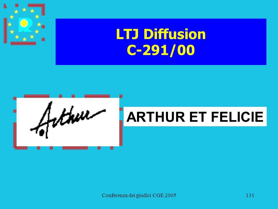 Conferenza dei giudici CGE 2005131 LTJ Diffusion C-291/00 ARTHUR ET FELICIE