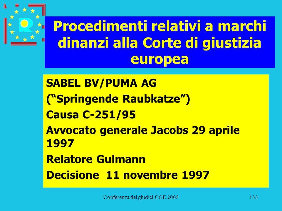 Conferenza dei giudici CGE 2005133 Procedimenti relativi a marchi dinanzi alla Corte di giustizia europea SABEL BV/PUMA AG (Springende Raubkatze) Caus