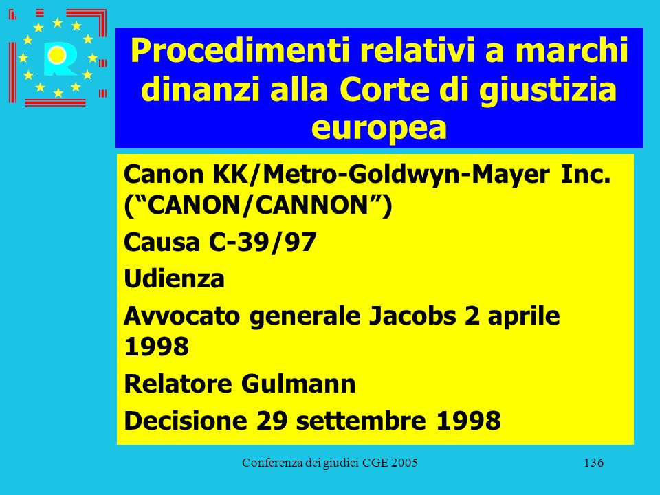 Conferenza dei giudici CGE 2005136 Procedimenti relativi a marchi dinanzi alla Corte di giustizia europea Canon KK/Metro-Goldwyn-Mayer Inc. (CANON/CAN