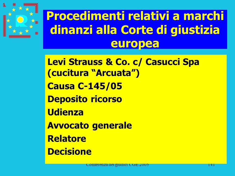 Conferenza dei giudici CGE 2005141 Procedimenti relativi a marchi dinanzi alla Corte di giustizia europea Levi Strauss & Co. c/ Casucci Spa (cucitura