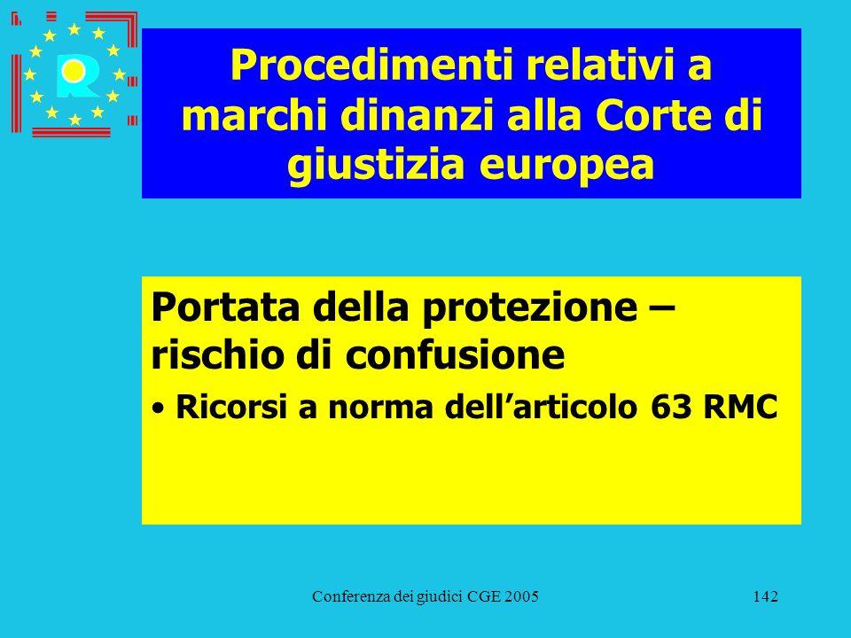 Conferenza dei giudici CGE 2005142 Procedimenti relativi a marchi dinanzi alla Corte di giustizia europea Portata della protezione – rischio di confus