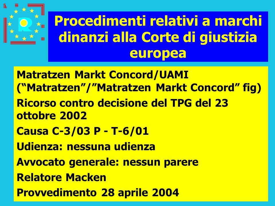 Conferenza dei giudici CGE 2005143 Procedimenti relativi a marchi dinanzi alla Corte di giustizia europea Matratzen Markt Concord/UAMI (Matratzen/Matr
