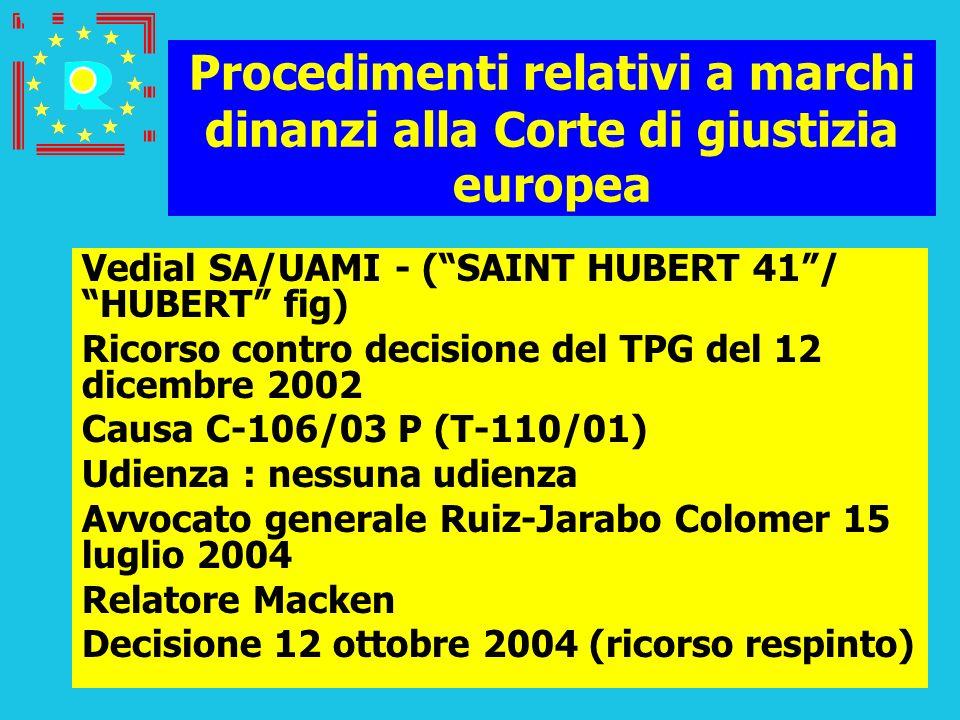 Conferenza dei giudici CGE 2005145 Procedimenti relativi a marchi dinanzi alla Corte di giustizia europea Vedial SA/UAMI - (SAINT HUBERT 41/ HUBERT fi