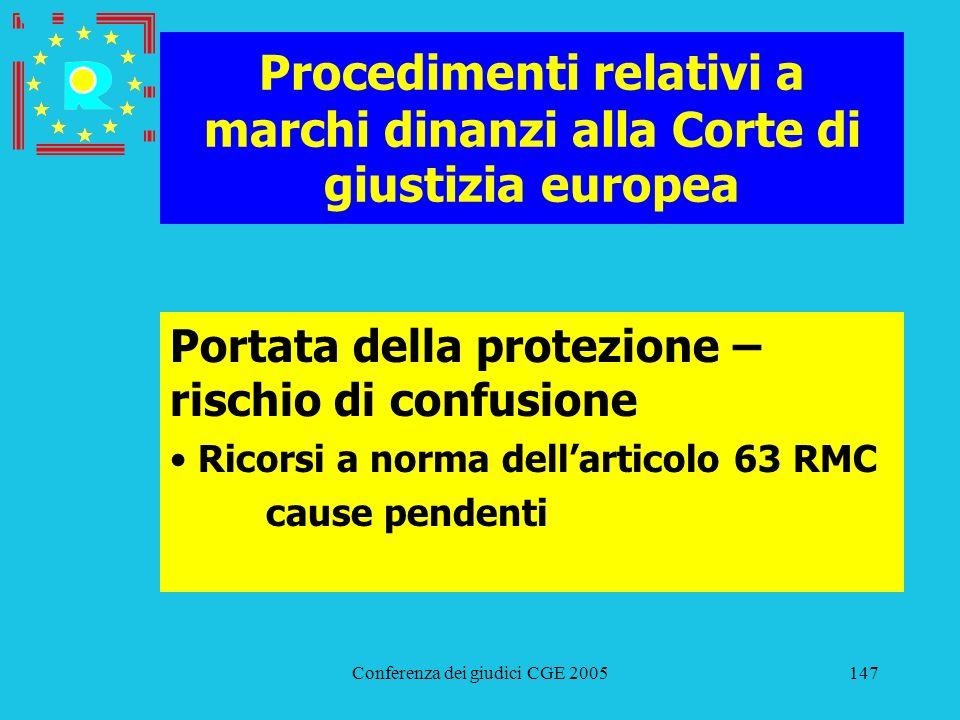 Conferenza dei giudici CGE 2005147 Procedimenti relativi a marchi dinanzi alla Corte di giustizia europea Portata della protezione – rischio di confus