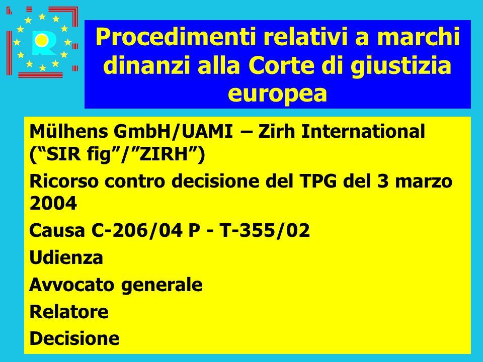 Conferenza dei giudici CGE 2005148 Procedimenti relativi a marchi dinanzi alla Corte di giustizia europea Mülhens GmbH/UAMI – Zirh International (SIR
