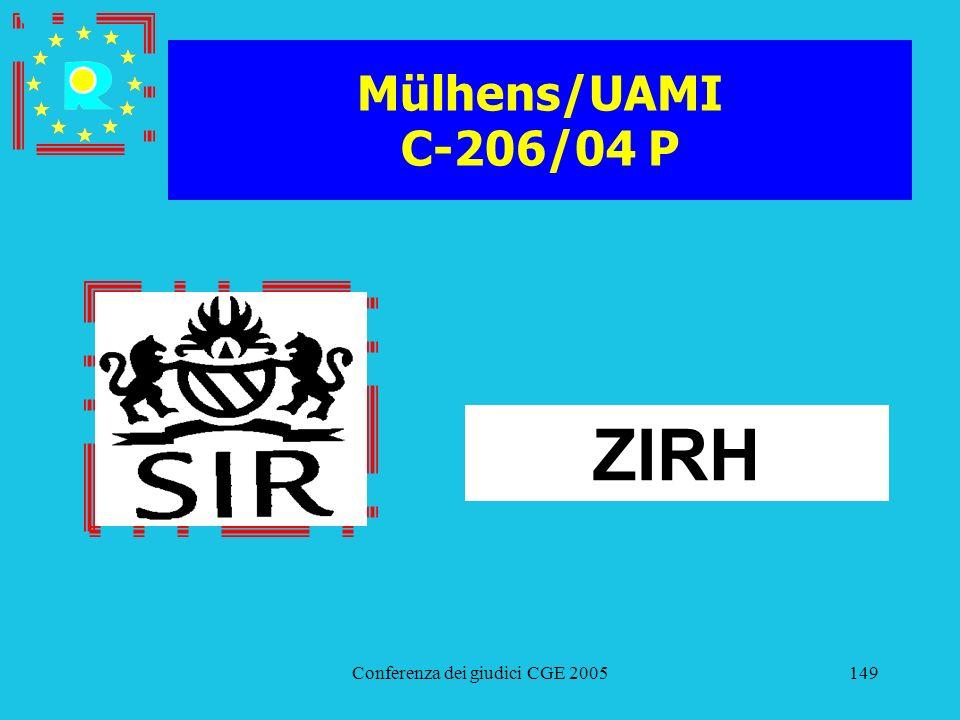 Conferenza dei giudici CGE 2005149 Mülhens/UAMI C-206/04 P ZIRH