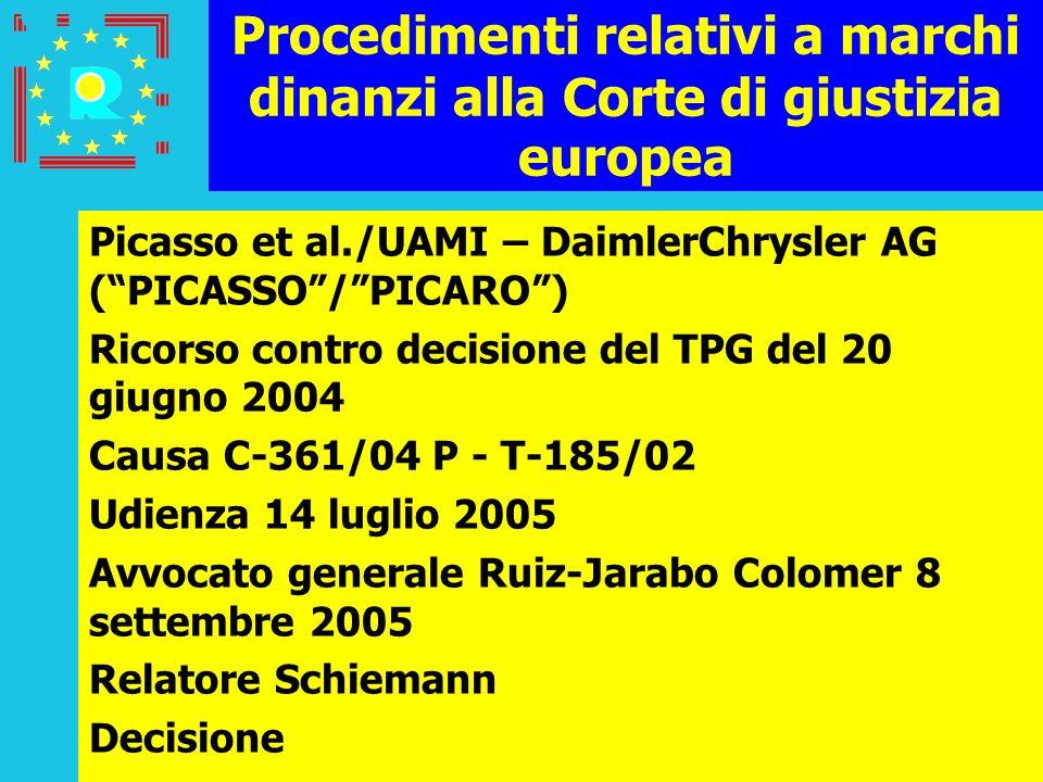 Conferenza dei giudici CGE 2005150 Procedimenti relativi a marchi dinanzi alla Corte di giustizia europea Picasso et al./UAMI – DaimlerChrysler AG (PI