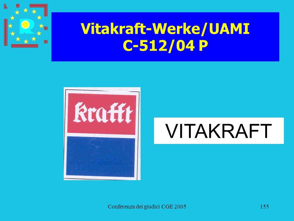 Conferenza dei giudici CGE 2005155 Vitakraft-Werke/UAMI C-512/04 P VITAKRAFT
