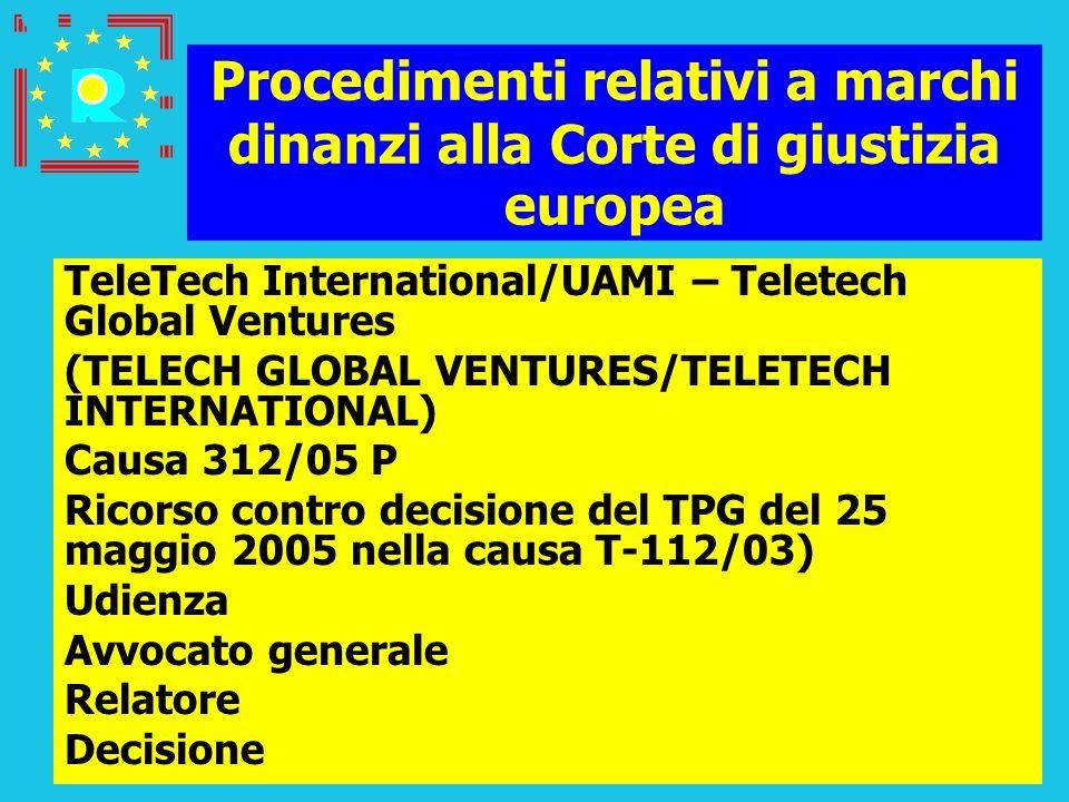 Conferenza dei giudici CGE 2005158 Procedimenti relativi a marchi dinanzi alla Corte di giustizia europea TeleTech International/UAMI – Teletech Globa