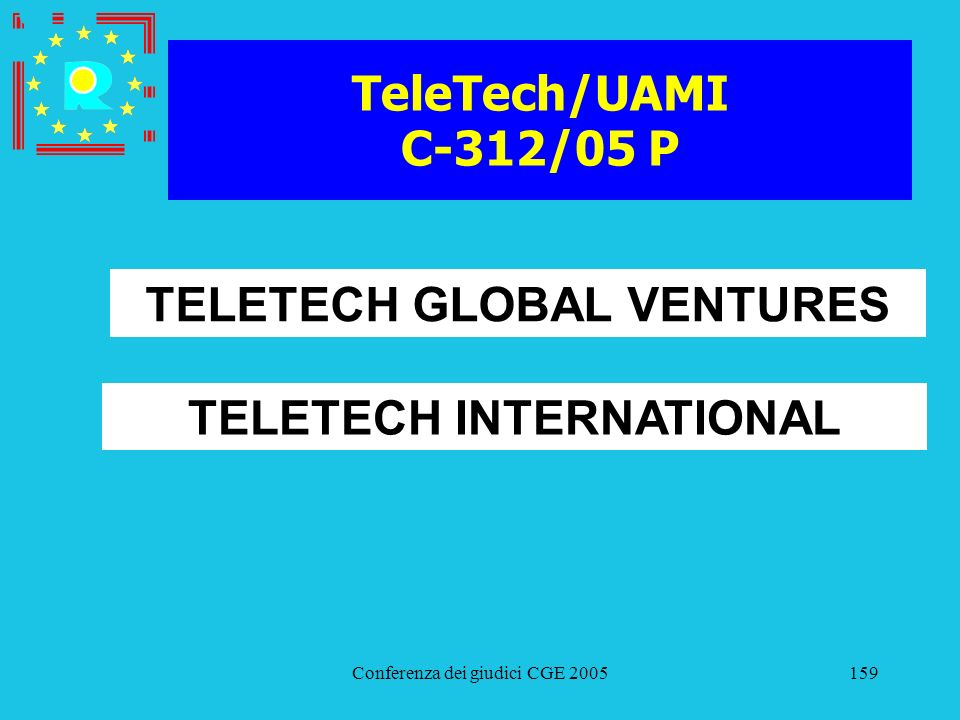 Conferenza dei giudici CGE 2005159 TeleTech/UAMI C-312/05 P TELETECH GLOBAL VENTURES TELETECH INTERNATIONAL