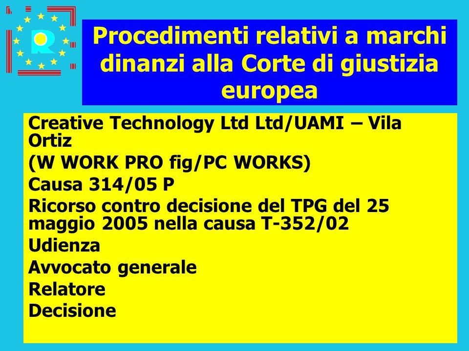Conferenza dei giudici CGE 2005160 Procedimenti relativi a marchi dinanzi alla Corte di giustizia europea Creative Technology Ltd Ltd/UAMI – Vila Orti