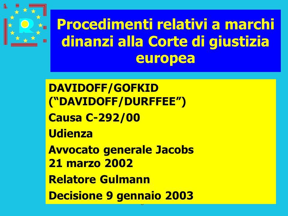 Conferenza dei giudici CGE 2005167 Procedimenti relativi a marchi dinanzi alla Corte di giustizia europea DAVIDOFF/GOFKID (DAVIDOFF/DURFFEE) Causa C-2
