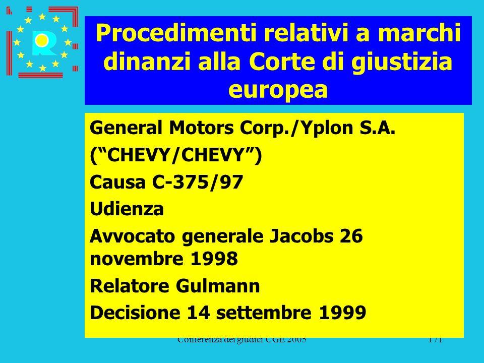 Conferenza dei giudici CGE 2005171 Procedimenti relativi a marchi dinanzi alla Corte di giustizia europea General Motors Corp./Yplon S.A. (CHEVY/CHEVY