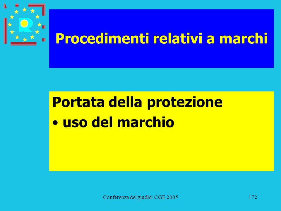 Conferenza dei giudici CGE 2005172 Procedimenti relativi a marchi Portata della protezione uso del marchio