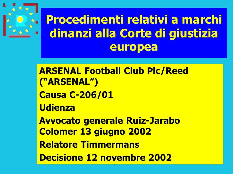 Conferenza dei giudici CGE 2005173 Procedimenti relativi a marchi dinanzi alla Corte di giustizia europea ARSENAL Football Club Plc/Reed (ARSENAL) Cau