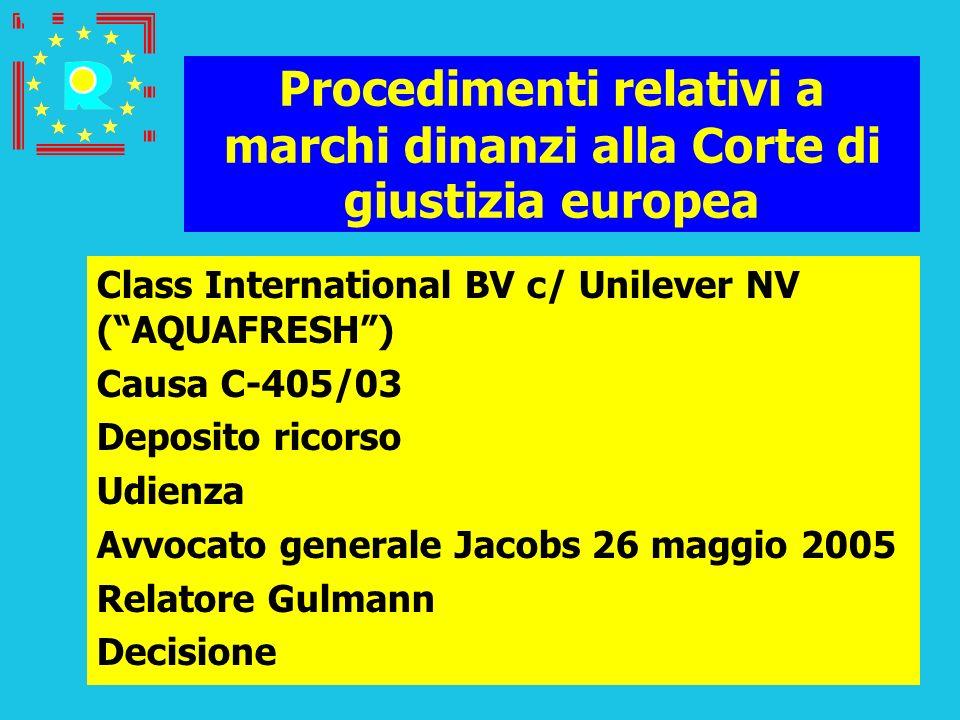 Conferenza dei giudici CGE 2005174 Procedimenti relativi a marchi dinanzi alla Corte di giustizia europea Class International BV c/ Unilever NV (AQUAF
